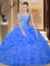 Fantastic Pick Ups V-neck Sleeveless Backless Sweet 16 Dresses Blue Organza