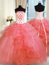 Traditional Pick Ups Strapless Sleeveless Lace Up Quinceanera Dress Watermelon Red Tulle