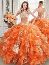 New Arrival Sequins Floor Length Orange 15 Quinceanera Dress Sweetheart Sleeveless Lace Up