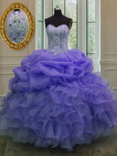 Sleeveless Floor Length Beading and Ruffles and Pick Ups Lace Up Quinceanera Gowns with Lavender