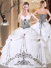 Captivating Sleeveless Embroidery and Pick Ups Lace Up Quinceanera Gowns