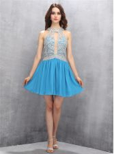Halter Top Mini Length Zipper Homecoming Dress Baby Blue for Prom and Party with Beading and Bowknot