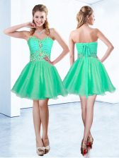 Turquoise A-line Organza Sweetheart Sleeveless Beading and Ruching Mini Length Lace Up Prom Dresses