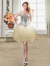 Simple Champagne Sleeveless Beading and Lace and Sequins Mini Length Prom Gown