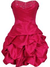 Hot Pink Ball Gowns Taffeta Sweetheart Sleeveless Ruching Mini Length Lace Up Dress for Prom