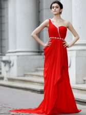 One Shoulder Red Sleeveless With Train Beading and Ruching Zipper Prom Dress