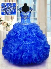 Elegant Royal Blue Cap Sleeves Organza Lace Up 15 Quinceanera Dress for Military Ball and Sweet 16 and Quinceanera