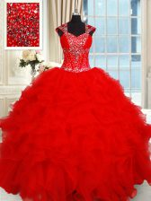 Deluxe Red Organza Backless Sweetheart Cap Sleeves Floor Length Sweet 16 Dress Beading and Ruffles