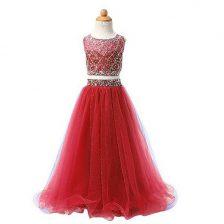 Amazing Red Two Pieces Organza Scoop Sleeveless Beading Floor Length Zipper Flower Girl Dress