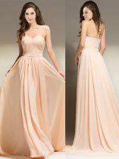 Attractive Peach Sleeveless Chiffon Brush Train Clasp Handle Evening Dress for Prom