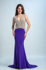 Purple V-neck Backless Beading Prom Evening Gown Sleeveless