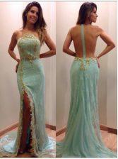 Elegant Apple Green Mermaid Strapless Sleeveless Tulle Court Train Zipper Sequins Prom Gown
