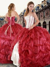 Decent Red Lace Up 15 Quinceanera Dress Beading and Pick Ups Sleeveless Floor Length