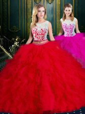 Extravagant Scoop Sleeveless Floor Length Lace and Ruffles Zipper Quinceanera Dresses with Red