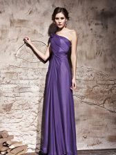 Purple Chiffon Side Zipper One Shoulder Cap Sleeves Floor Length Prom Evening Gown Ruching