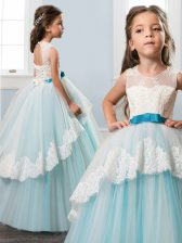 Best Scoop Backless Tulle Sleeveless Floor Length Little Girls Pageant Dress Wholesale and Lace and Bowknot