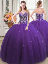 Exceptional Ball Gowns Quince Ball Gowns Purple Sweetheart Tulle Sleeveless Floor Length Lace Up