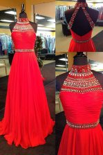 Glittering Halter Top Sleeveless Chiffon Floor Length Backless Prom Evening Gown in Red with Beading