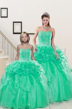 Fine Turquoise Sleeveless Beading and Pick Ups Floor Length Quinceanera Dresses