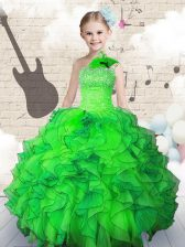 Classical Floor Length Green Girls Pageant Dresses Organza Sleeveless Beading and Ruffles