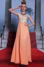 Orange Evening Dress Prom and Party with Beading Scalloped Sleeveless Side Zipper