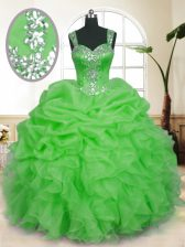 Shining Organza Sleeveless Floor Length Quince Ball Gowns and Beading and Ruffles and Pick Ups