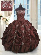 Perfect Pick Ups Strapless Sleeveless Lace Up Quinceanera Dresses Burgundy Taffeta