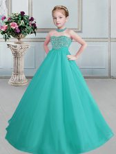 Halter Top Floor Length Turquoise Child Pageant Dress Organza Sleeveless Beading
