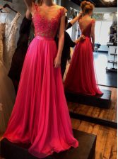 Free and Easy Scoop Sleeveless Appliques Zipper Prom Party Dress