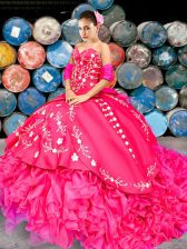 Hot Pink Organza and Taffeta Lace Up Quinceanera Dresses Sleeveless With Brush Train Beading and Embroidery and Ruffles