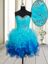 Adorable Multi-color Sleeveless Beading and Ruffles Mini Length Homecoming Dress