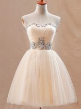 Attractive Mini Length Champagne Dress for Prom Tulle Sleeveless Beading