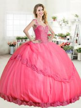 Halter Top Hot Pink Tulle Lace Up Quinceanera Dress Sleeveless Floor Length Beading and Appliques