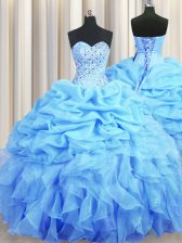 Baby Blue Organza Backless Sweet 16 Dresses Sleeveless Floor Length Beading and Ruffles and Pick Ups