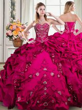 Floor Length Fuchsia 15 Quinceanera Dress Organza and Taffeta Sleeveless Beading and Embroidery and Pick Ups