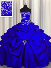 Royal Blue Taffeta Lace Up Strapless Sleeveless Floor Length Vestidos de Quinceanera Appliques and Pick Ups