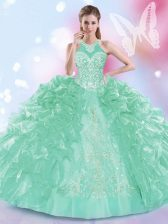 Ball Gowns 15th Birthday Dress Apple Green Halter Top Organza Sleeveless Floor Length Lace Up