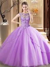 Fashion Scoop Lavender Tulle Lace Up Quinceanera Dress Sleeveless Brush Train Beading