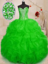 Captivating Floor Length Ball Gowns Sleeveless Green Quinceanera Gowns Lace Up