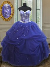 Blue Ball Gowns Sweetheart Sleeveless Tulle Floor Length Lace Up Beading and Sequins Quince Ball Gowns