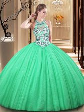 Dramatic Tulle Sleeveless Floor Length Quince Ball Gowns and Lace and Appliques