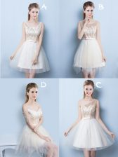 Square Champagne A-line Sequins and Bowknot Damas Dress Lace Up Tulle Sleeveless Mini Length