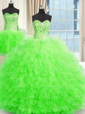 Spectacular Three Piece Ball Gowns Quinceanera Gown Strapless Tulle Sleeveless Floor Length Lace Up