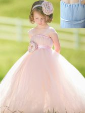 Straps Sleeveless Toddler Flower Girl Dress Floor Length Bowknot and Hand Made Flower Baby Pink Tulle
