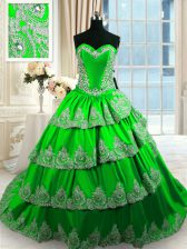 Ruffled Sleeveless Taffeta Court Train Lace Up Quinceanera Dresses for Military Ball and Sweet 16 and Quinceanera