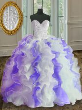 White and Purple Sweetheart Lace Up Beading and Ruffles Quinceanera Dresses Sleeveless