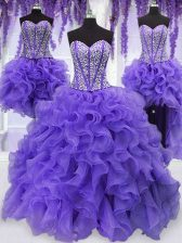 Four Piece Sleeveless Organza Floor Length Lace Up Sweet 16 Dresses in Lavender with Embroidery and Ruffles and Ruffled Layers and Sashes ribbons