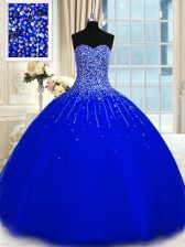 Floor Length Royal Blue Ball Gown Prom Dress Sweetheart Sleeveless Lace Up