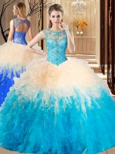 Fantastic Beading and Ruffles 15th Birthday Dress Multi-color Backless Sleeveless Floor Length