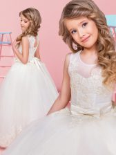 Extravagant White Ball Gowns Tulle Scoop Sleeveless Lace and Bowknot Floor Length Lace Up Toddler Flower Girl Dress
